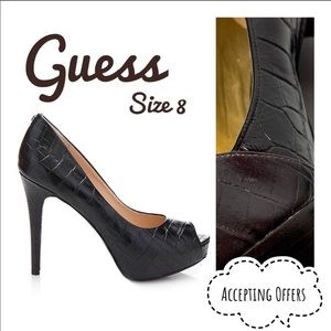 GUESS Brown Patent Leather Stiletto Heels textured